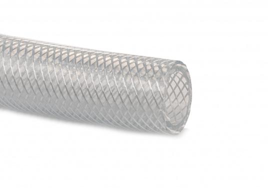PVC-Gewebeschlauch, geeignet für Druckwasseranlagen, transparent. Der Schlauch ist lieferbar in verschiedenen Größen.