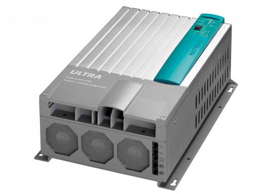 Der MASS COMBI ULTRA fasst die fortschrittlichste Technik (V6 Hochfrequenz Technologie) in einem kompakten Paket zusammen. Er vereint Sinus-Wechselrichter und Batterie-IUOU-Ladegerät in einem Gehäuse. Nennspannung: 12 V. Empfohlene Batteriekapazität: 300 - 900 Ah.  (Bild 4 von 8)
