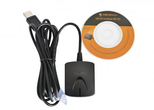 Der kabelgebundene USB-GPS-Empfänger MG-220 verfügt über den sensiblen MTK Chipsatz. Dieser kann selbst ohne direkte Sicht zu GPS Satelliten, GPS Signale empfangen. Der 99 Kanal Parallelempfang ermöglicht eine exzellenten Empfang.  (Bild 3 von 3)