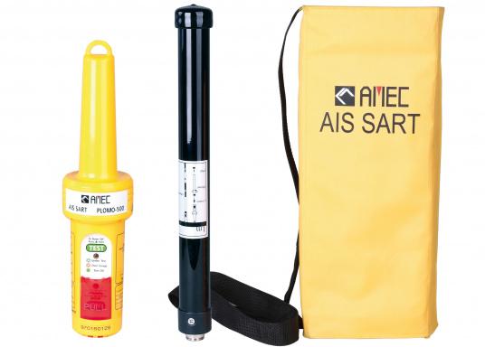 Der AIS-SART Seenotsender PLOMO-500 von AMEC ist ein von Hand auszulösender Notfallsender, hauptsächlich für den Einsatz auf Rettungsinseln und Rettungsbooten.
