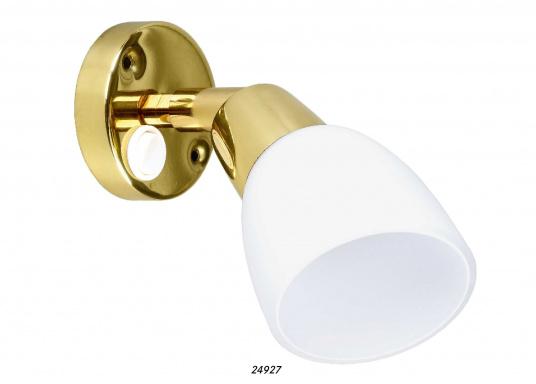 Leselampe mitedlem Opalglas-Lampenschirm. Mit Ein/Aus Schalter am Gehäuse. Lieferung inklusive LED-Leuchtmittel. 12 - 30 V DC.Sockeldurchmesser: 6,5 cm.