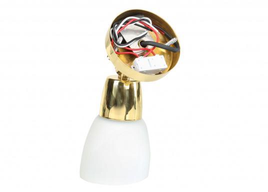 Leselampe mitedlem Opalglas-Lampenschirm. Mit Ein/Aus Schalter am Gehäuse. Lieferung inklusive LED-Leuchtmittel. 12 - 30 V DC.Sockeldurchmesser: 6,5 cm. (Bild 2 von 2)