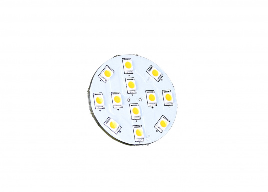 Der runde LED Lampeneinsatz G4/V mit 12 LEDs liefert ein angenehmes, warmweißes Licht. 2 W, für 9 bis 30 V DC. G4-Stecker auf der Rückseiten-Mitte. Durchmesser: 30 mm. (Bild 2 von 3)