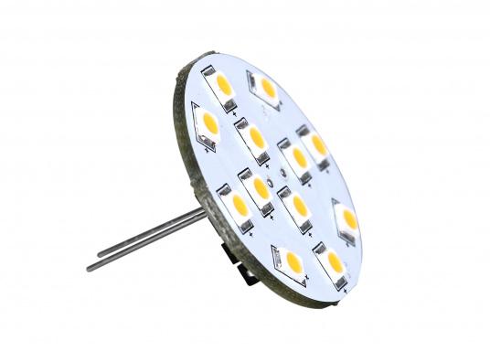 Der runde LED Lampeneinsatz G4/V mit 12 LEDs liefert ein angenehmes, warmweißes Licht. 2 W, für 9 bis 30 V DC. G4-Stecker auf der Rückseiten-Mitte. Durchmesser: 30 mm.