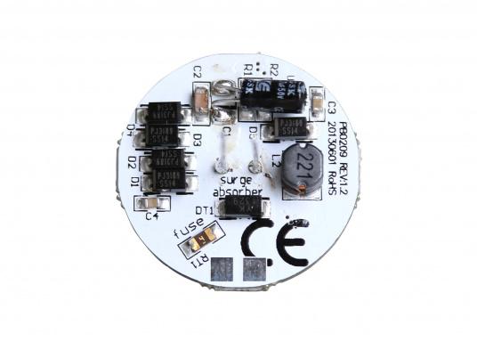 Der runde LED Lampeneinsatz G4/V mit 12 LEDs liefert ein angenehmes, warmweißes Licht. 2 W, für 9 bis 30 V DC. G4-Stecker auf der Rückseiten-Mitte. Durchmesser: 30 mm. (Bild 3 von 3)