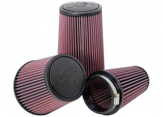 Die K&N Luftfilter sind mit ultrastarken, biegsamen, geformten Gummiflanschen versehen, die Schwingungen absorbieren und eine sichere Befestigung ermöglichen. Erhältlich in verschiedenen Größen.