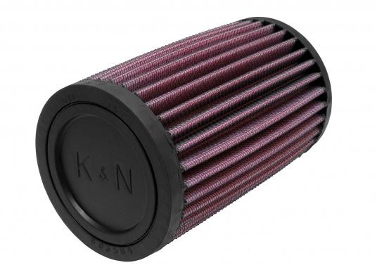 Die K&N Luftfilter sind mit ultrastarken, biegsamen, geformten Gummiflanschen versehen, die Schwingungen absorbieren und eine sichere Befestigung ermöglichen. Erhältlich in verschiedenen Größen.  (Bild 2 von 3)