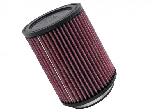 Die K&N Luftfilter sind mit ultrastarken, biegsamen, geformten Gummiflanschen versehen, die Schwingungen absorbieren und eine sichere Befestigung ermöglichen. Erhältlich in verschiedenen Größen.  (Bild 3 von 3)