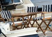 Chaise pliante en teck REGISSEUR / finitions inox / crème