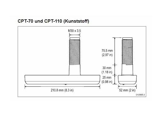 Raymarine - Durchbruchgeber CPT-110 zum direkten Anschluss an kompatible Raymarine DownVision und Fishfinder Kartenplotter.  (Bild 3 von 3)