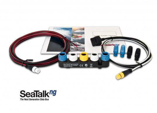 The Raymarine SeaTalk1/ SeaTalkng converter allows communication for devices within the SeaTalk1 to a SeaTalkng network. It is compatible with ST40, ST60+, Raystar 125 GPS and LifeTag MOB systems.