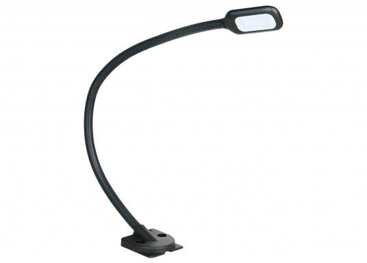 Hochflexibel und vielseitig einsetzbar. Diese LED-Leseleuchte mit allseitig biegsamem Arm ist ideal für Wassersport, Camping und Auto geeignet. Das warme und blendfreie Licht sorgt für eine angenehme Beleuchtung.