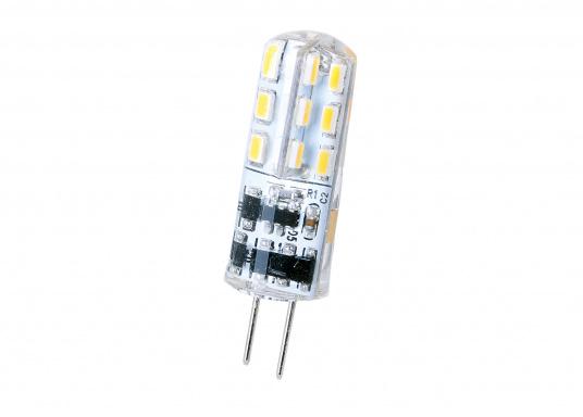 Angenehmes, warmweißes Licht bei einem maximalen Stromverbrauch von lediglich 1,5 W. Ausgelegt für Spannungen von 10-30 V DC / 12V AC garantiert dieser LED Lampeneinsatz eine lange Lebensdauer.
