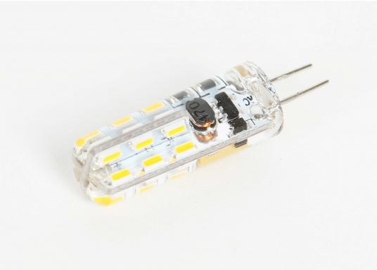 Angenehmes, warmweißes Licht bei einem maximalen Stromverbrauch von lediglich 1,5 W. Ausgelegt für Spannungen von 10-30 V DC / 12V AC garantiert dieser LED Lampeneinsatz eine lange Lebensdauer. (Bild 2 von 2)