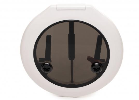 Luke gefertigt aus UV-beständigem PVC, mit RINA-Zulassung. Dank des Innenrahmens sind keine Verschraubungen sichtbar. Der stabile Aufstellarm sorgt dafür, dass die Luke in jeder Position geöffnet bleibt.