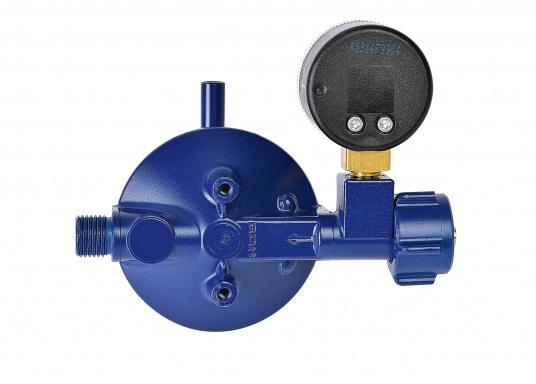 Le détendeur Marine est adapté pour le raccordement des bouteilles de gaz jusqu'à 14 kg. Débit: 0,8 kg / h. Livré avec manomètre.  (Image 3 de 3)