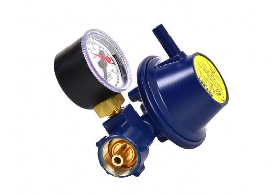 Le détendeur Marine est adapté pour le raccordement des bouteilles de gaz jusqu'à 14 kg. Débit: 0,8 kg / h. Livré avec manomètre.  (Image 2 de 3)