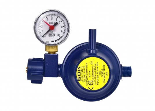 This gas regulator is suitable for connection to gas cylinders of up to 14 kg load capacity. Flow rate: 0.8 kg/h. Supplied with pressure gauge.