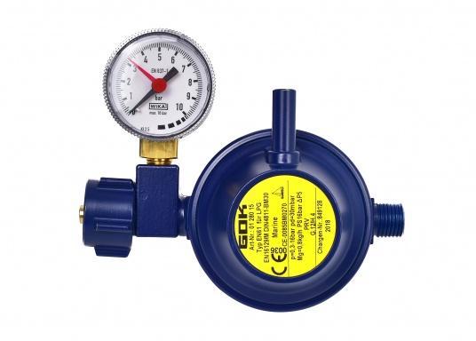 Le détendeur Marine est adapté pour le raccordement des bouteilles de gaz jusqu'à 14 kg. Débit: 0,8 kg / h. Livré avec manomètre.
