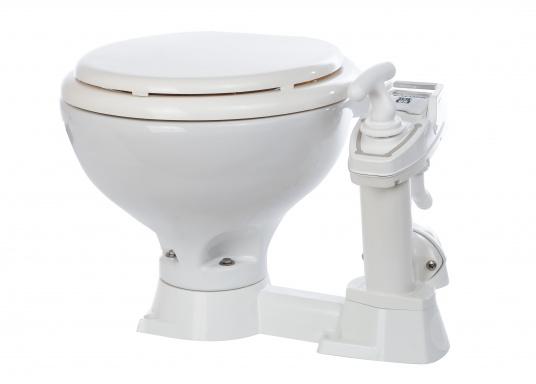 Das manuelle Bord-WC SEALOCK kann sowohl unter als auch über der Wasserlinie montiert werden. Im Gegensatz zu herkömmlichen Bord-WC's können bei der SEALOCK die Ein- und Ausgänge komplett geschlossen werden, wenn die Toilette einmal nicht benutzt wird.