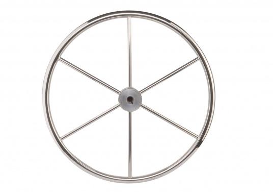 Steuerrad mit sechs Speichen, Nabe und Handgriff aus Edelstahl. Der Durchmesser des Umlaufs beträgt 25 mm, die Speichen haben einen Durchmesser von 14 mm. Alle Steuerräder sind RINA, EN und ISO zugelassen.  (Bild 2 von 4)