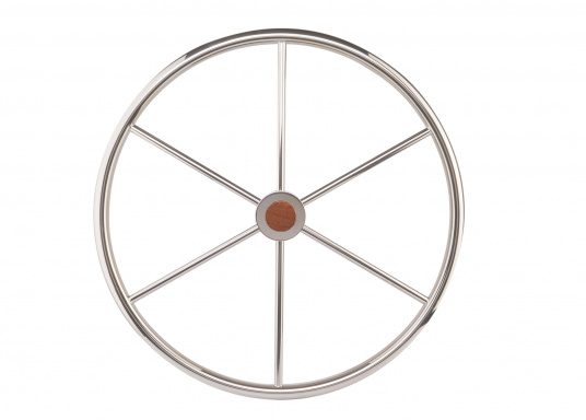 Steuerrad mit sechs Speichen, Nabe und Handgriff aus Edelstahl. Der Durchmesser des Umlaufs beträgt 25 mm, die Speichen haben einen Durchmesser von 14 mm. Alle Steuerräder sind RINA, EN und ISO zugelassen.