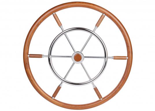 Äußerst schön verarbeitete Steuerräderfür Yachten und Segelboote. Der doppelte Umlauf besteht aus hochwertigem Teak und Edelstahl. CE zugelassen und RINA, EN sowie ISO zertifiziert.
