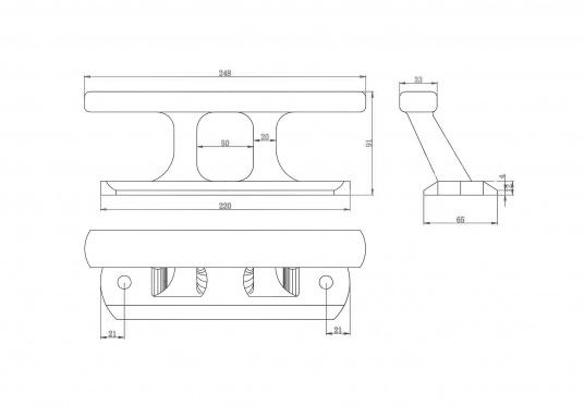 Klampe gefertigt aus gebürstetem Edelstahl. Lochabstand: 180 mm, Loch-Ø 12mm. Bruchlast: 10.000 kg.Abmessungen (L x B x H): 220 x 65 x 91 mm.  (Bild 6 von 6)