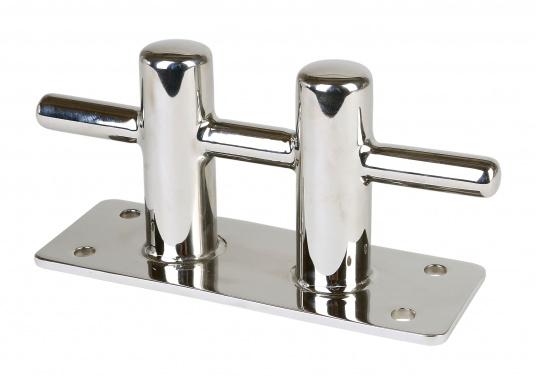 Double bollarden acier inoxydable. Entraxes : 140 mm sur la longueur, 40 mm sur la largeur. Diamètre des trous de vis :8 mm. Charge de rupture : 6000 kg.