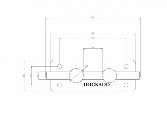 Double bollarden acier inoxydable. Entraxes : 140 mm sur la longueur, 40 mm sur la largeur. Diamètre des trous de vis :8 mm. Charge de rupture : 6000 kg.  (Image 3 de 3)
