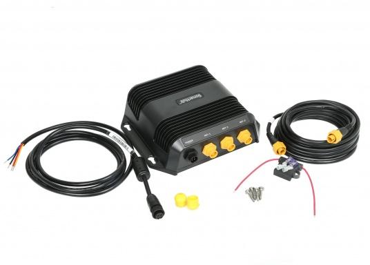 Das kompakte SonarHub™-Modul ist die Komplettlösung, mit der Sie Ihre Lowrance und Simrad Fischfinder / Kartenplotter mit moderner Sonar Technologie aufrüsten können. Ausgeführt als Plug-and-Play Komplett-Netzwerklösung wird es noch leichter, ergiebige Fanggründe zu finden. (Bild 5 von 5)