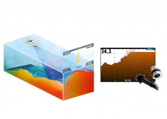 ForwardScan liefert Ihnen ein 2D-Sonarbild des vor Ihrem Boot liegenden Grundes. In flachen, unbekannten oder schlecht kartierten Gewässern hilft Ihnen ForwardScan, sicher zu navigieren und Grundberührungen zu vermeiden.  (Bild 4 von 6)