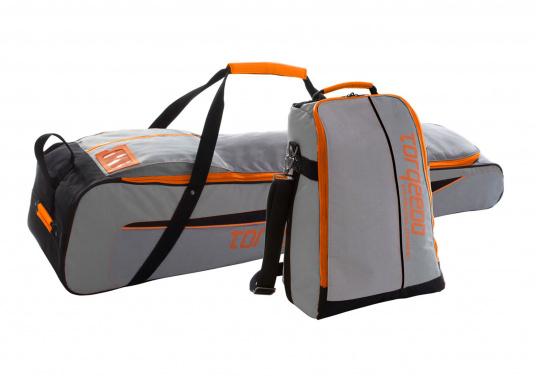 TORQEEDO - Transporttaschenset für Elektro - Außenborder TRAVEL 503/ 603 / 1003 / 1103. Bestehend aus zwei Taschen: Eine Tasche für den Motor (inklusive Pinne und Zubehör) und eine Tasche für den Akku.