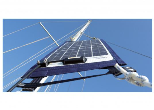 The solar module TX14152 is ideal for charging the battery during winter storage. In case of a standing mast just shackle the upper D-loops to two halyards, e.g. one to the foresail or mainsail and align it all to the south.