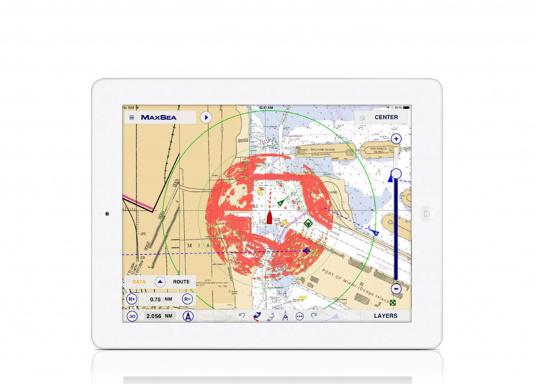 Statt aufwendigem Kartenplotter benötigt man bei derFURUNO W-LANRadarantenne nur ein iPhone oder ein iPad, um sich die komplexen Bilder des klassischen Radars anzeigen zu lassen.  (Bild 4 von 6)