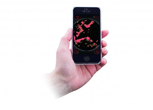 Statt aufwendigem Kartenplotter benötigt man bei derFURUNO W-LANRadarantenne nur ein iPhone oder ein iPad, um sich die komplexen Bilder des klassischen Radars anzeigen zu lassen.  (Bild 5 von 6)