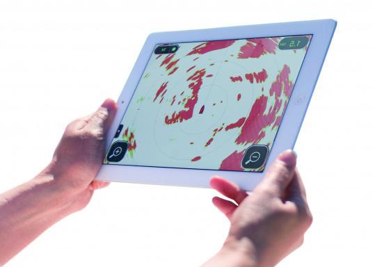 Statt aufwendigem Kartenplotter benötigt man bei derFURUNO W-LANRadarantenne nur ein iPhone oder ein iPad, um sich die komplexen Bilder des klassischen Radars anzeigen zu lassen.  (Bild 2 von 6)