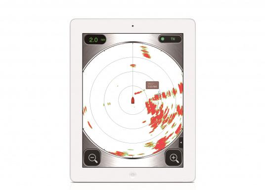 Statt aufwendigem Kartenplotter benötigt man bei derFURUNO W-LANRadarantenne nur ein iPhone oder ein iPad, um sich die komplexen Bilder des klassischen Radars anzeigen zu lassen.  (Bild 3 von 6)