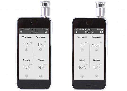 Mit dem WINDOO1 können Sie Wind und Temperatur direkt mit Ihrem Smartphone messen. Zur Verwendung muss lediglich die App heruntergeladen und der Windmesser in den Kopfhörer-Anschluss des Smartphones gesteckt werden. (Bild 3 von 4)
