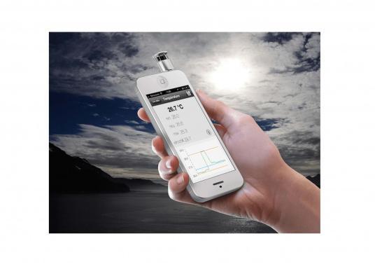 Mit dem WINDOO1 können Sie Wind und Temperatur direkt mit Ihrem Smartphone messen. Zur Verwendung muss lediglich die App heruntergeladen und der Windmesser in den Kopfhörer-Anschluss des Smartphones gesteckt werden. (Bild 4 von 4)