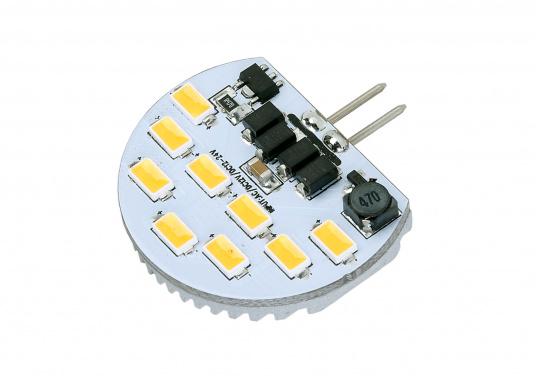 Halbrunder LED-Einsatz G4 Standard mit 9 LEDs, dimmbar. Der LED-Einsatz liefert angenehm warm-weißes Licht mit 235 Lumen (entspricht 35 Watt Halogen) bei einem Verbrauch von nur 3 Watt. Für 9 - 30 V DC oder 12 V AC. Durchmesser: 34 x 27 mm.