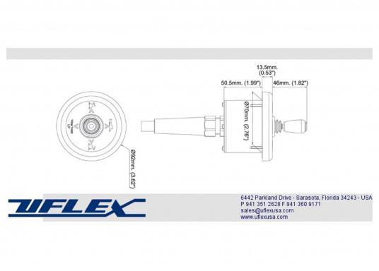 Zweitbedienstation mit Joystick-Steuerung für das UFLEX Elektro-Trimmklappen-Kit. Lieferung mit 40 cm langem Kabelanschluss. Einbaudurchmesser: 70 mm.  (Bild 3 von 3)