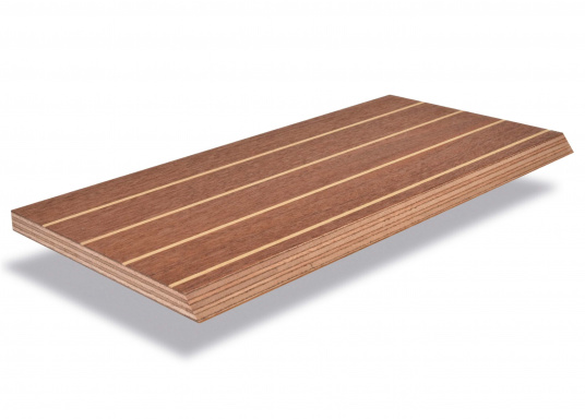 Schöne Bodenplatten in Khaya Mahagoni Qualität A/C, geeignet zur Verwendung als Fußboden im Innenraum (z.B. Pantry, Salon, etc). Mit weißem Fugendekor aus Buchenholz. Platten Abmessungen: 250 x 122 cm. Messerfurnier: 1,0 mm. Die Platten haben eine RINA Zertifizierung (Germanischer Lloyd).Preis pro m².