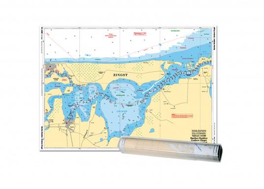 Der detaillierte Maßstab der Einzelkarten von 1: 40.000 ermöglicht es, sicher zwischen den Schilfzonen und Flachwasserbereichen zu navigieren. Auf den beiden Seiten des Kartenblattes sind außerdem die Grabow, die Große Wiek und der Bodstedter Bodden detailliert dargestellt.