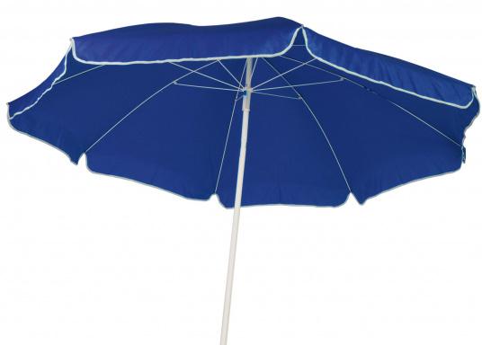 Sonnenschirm mit pulverbeschichtetem, weißem Stahl-Gestell. Der Stock hat einen Durchmesser von 22 / 25 mm, einen Metallknicker und einen Drehfeststeller.  (Bild 2 von 8)