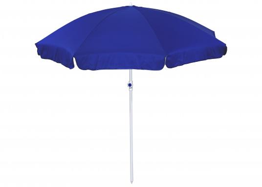 Sonnenschirm mit pulverbeschichtetem, weißem Stahl-Gestell. Der Stock hat einen Durchmesser von 22 / 25 mm, einen Metallknicker und einen Drehfeststeller.