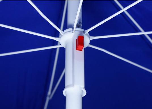 Sonnenschirm mit pulverbeschichtetem, weißem Stahl-Gestell. Der Stock hat einen Durchmesser von 22 / 25 mm, einen Metallknicker und einen Drehfeststeller.  (Bild 6 von 8)