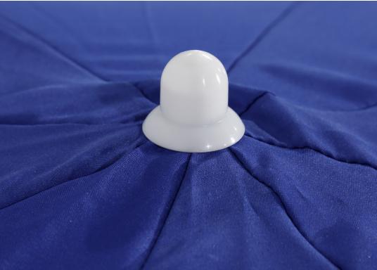 Sonnenschirm mit pulverbeschichtetem, weißem Stahl-Gestell. Der Stock hat einen Durchmesser von 22 / 25 mm, einen Metallknicker und einen Drehfeststeller.  (Bild 7 von 8)