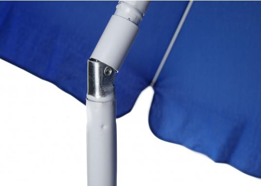Sonnenschirm mit pulverbeschichtetem, weißem Stahl-Gestell. Der Stock hat einen Durchmesser von 22 / 25 mm, einen Metallknicker und einen Drehfeststeller.  (Bild 5 von 8)