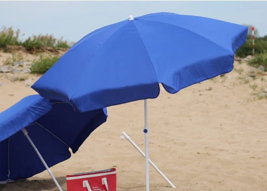 Sonnenschirm mit pulverbeschichtetem, weißem Stahl-Gestell. Der Stock hat einen Durchmesser von 22 / 25 mm, einen Metallknicker und einen Drehfeststeller.  (Bild 3 von 8)